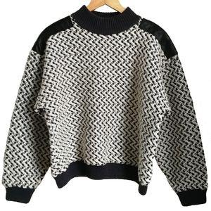 Vintage White & Grey Chevron Leather Sweater, sz M